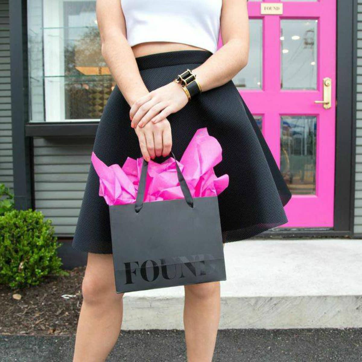 FOUND Austin store exterior pink door shopping bag 2015