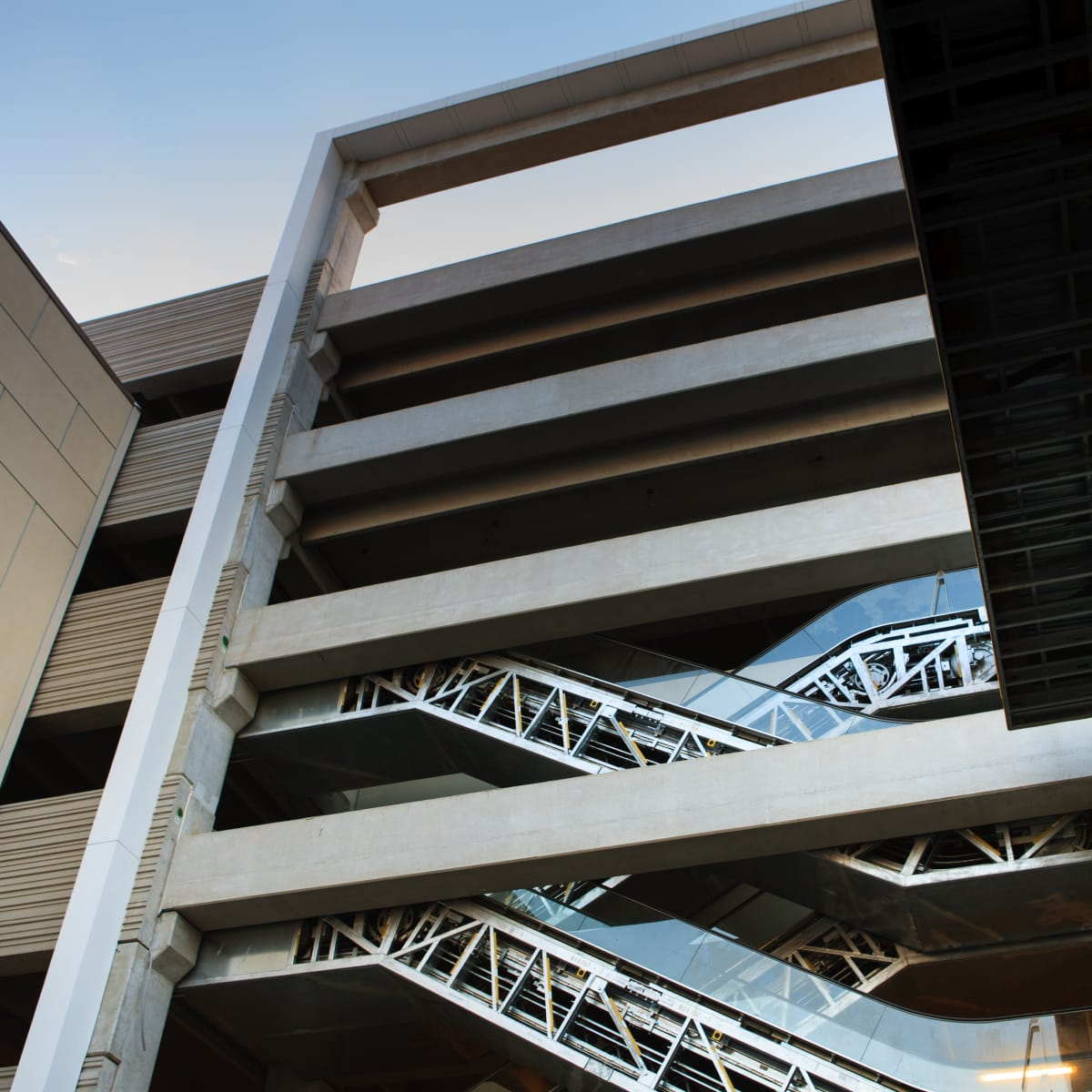 River Oaks District rendering of parking garage with glass elevators