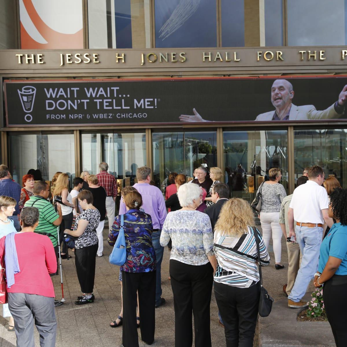 Outside of Jones Hall before taping of Wait Wait Don't Tell Me