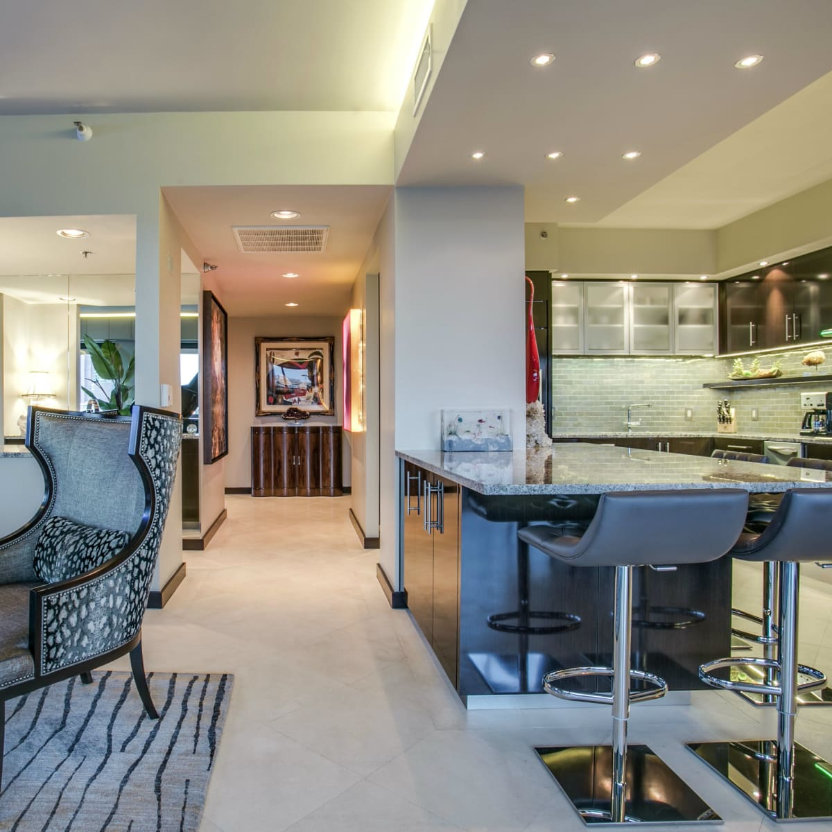 Kitchen and living area at 3831 Turtle Creek Blvd. in Dallas