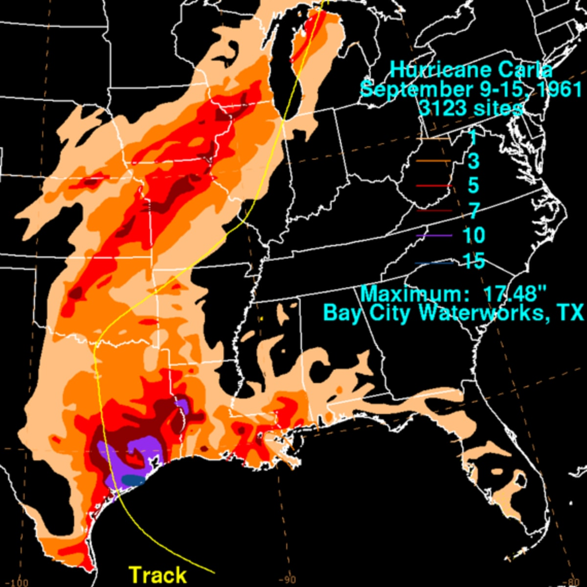 Hurricane Carla rainfall map