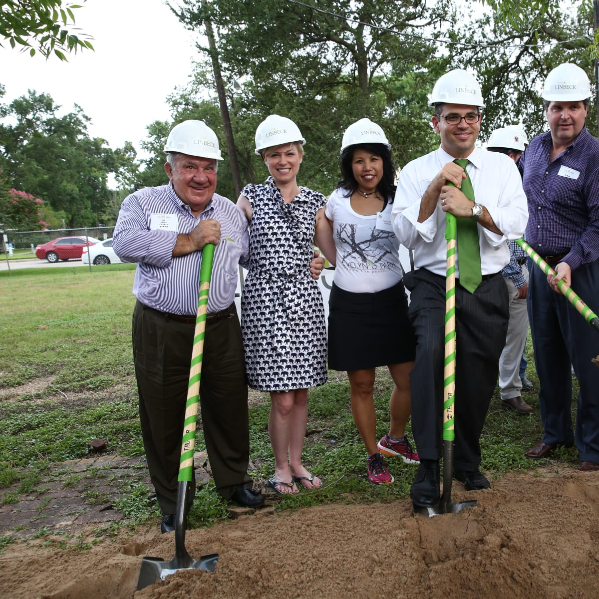 News, Shelby, Evelyn's Park groundbreaking, June 2015, Jim Avioli, Sarah Davis, Patricia Ritter king, Andrew Friedberg, Roman Reed