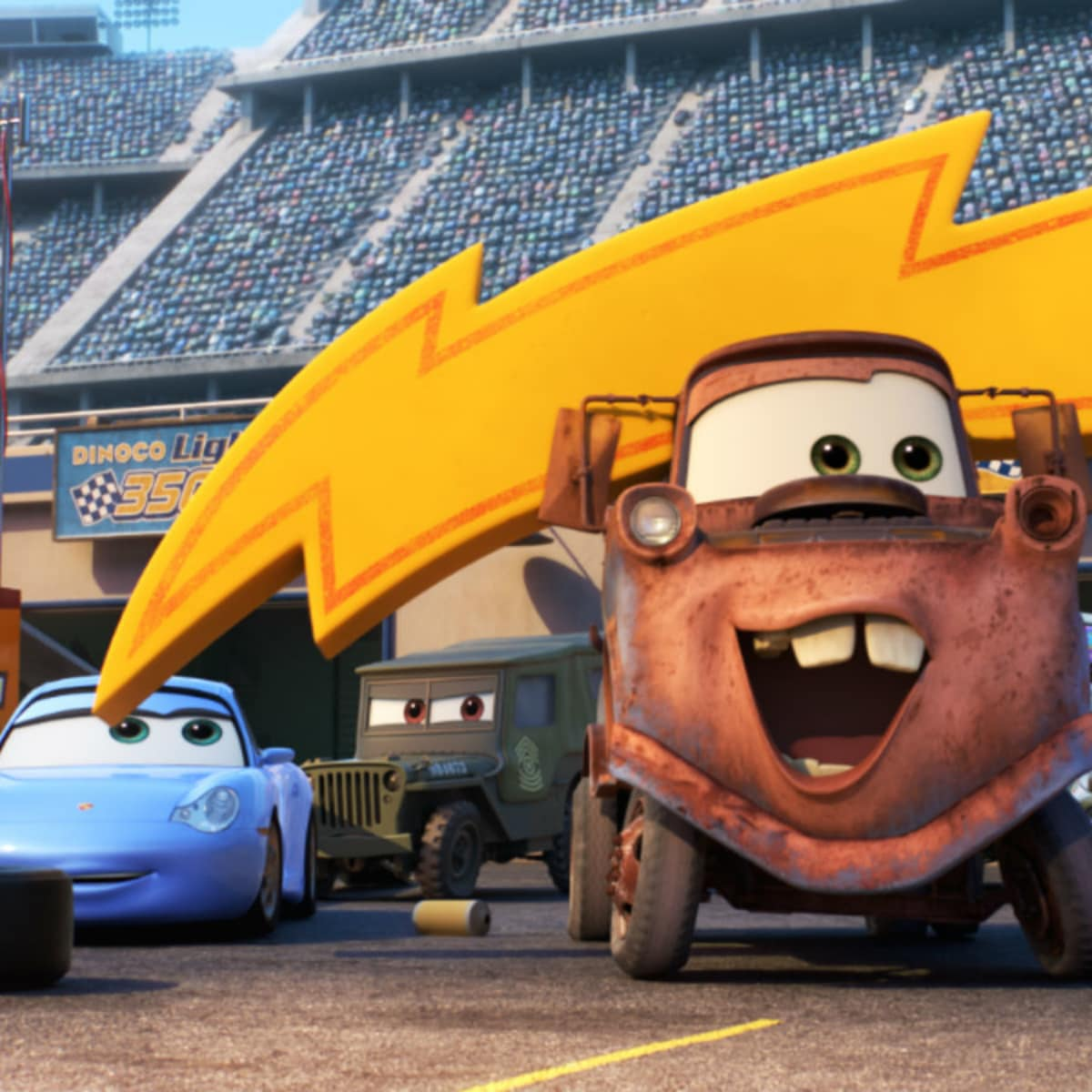 Sally, Sarge, Mater, and Luigi in Cars 3