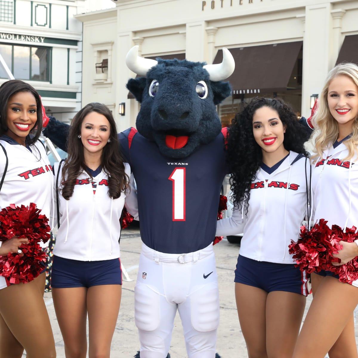 Texans Cheerleaders and Toro at Holiday Shopping Card