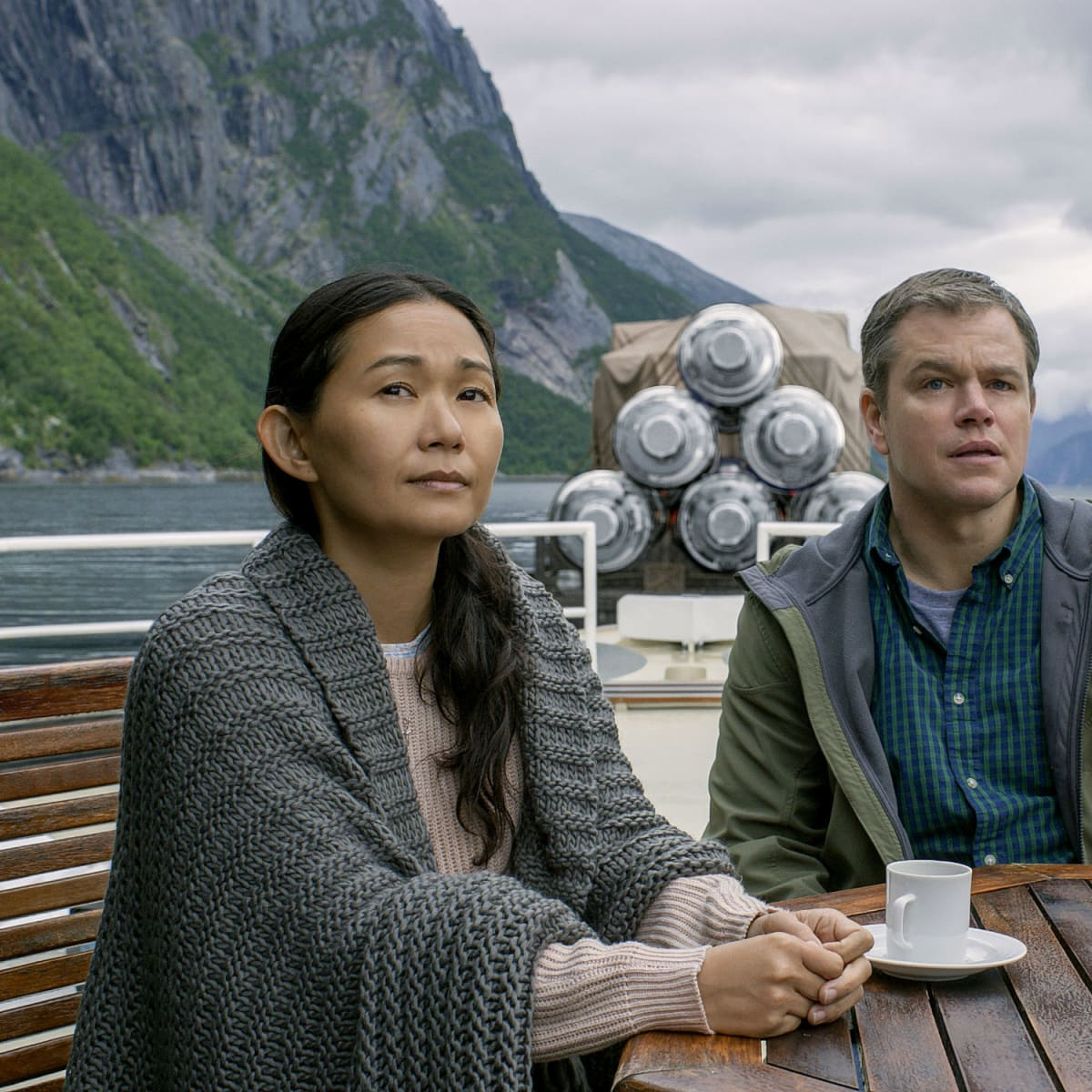 Hong Chau and Matt Damon in Downsizing