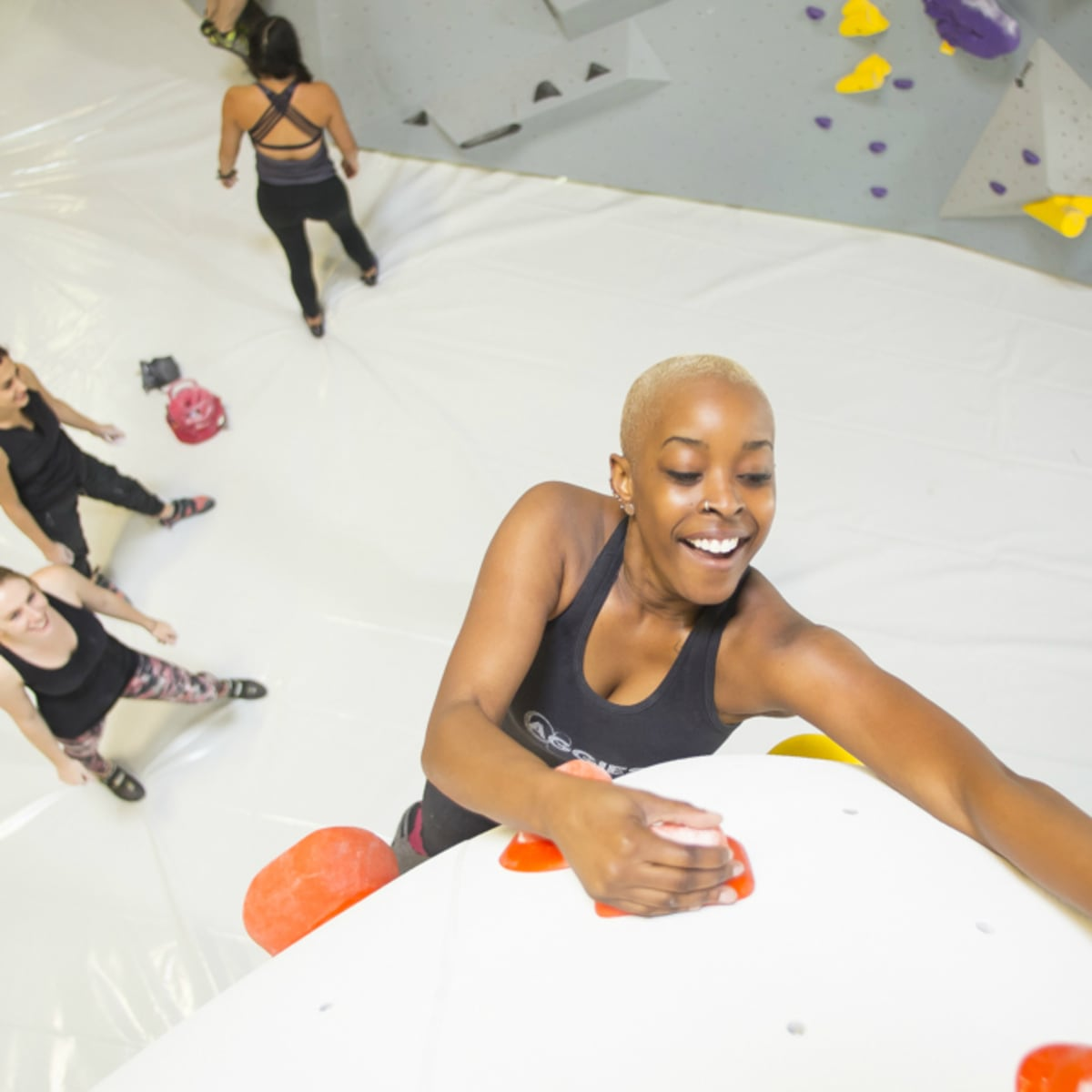 Houston Silver Street rock gym woman climbing 2