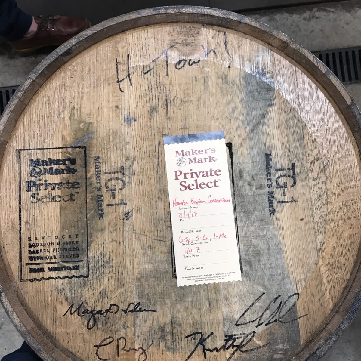 Houston Bourbon Consortium Maker's Mark barrel