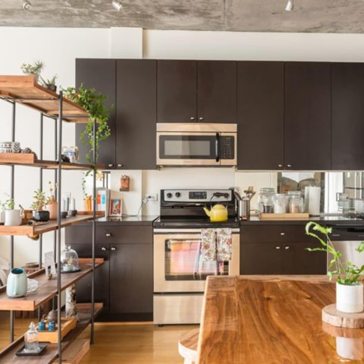 Houzz kitchen with wood floor and wood island