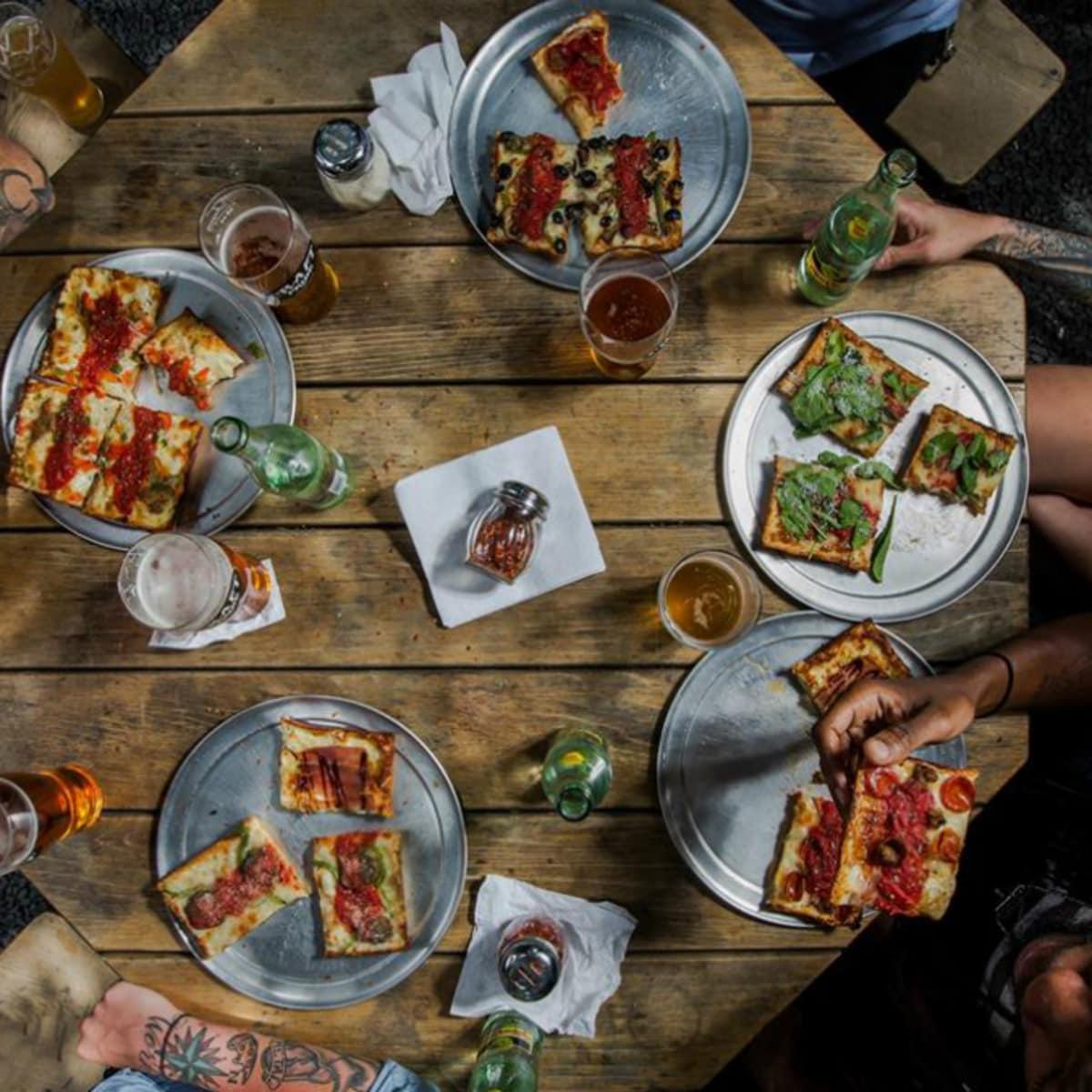 Via 313_Detroit style pizza_Austin food trailer_aerial view_2014