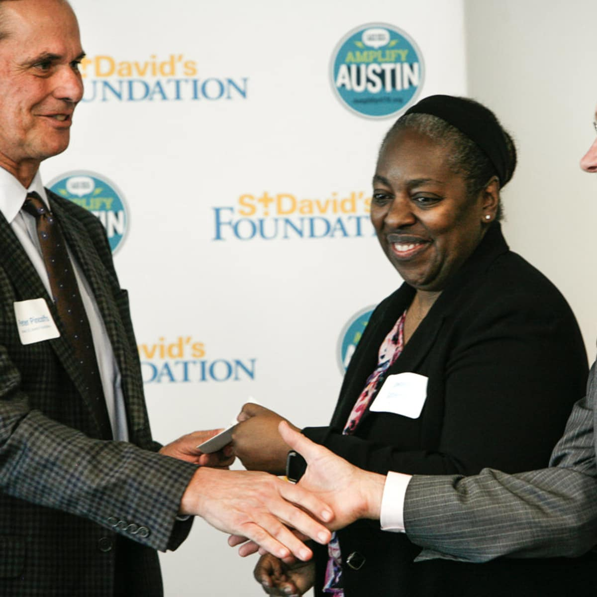 Peter Pinoffs, Board Chair St. David's Foundation, Jawana Gutierrez and Stephen Jackobs, Capital Idea
