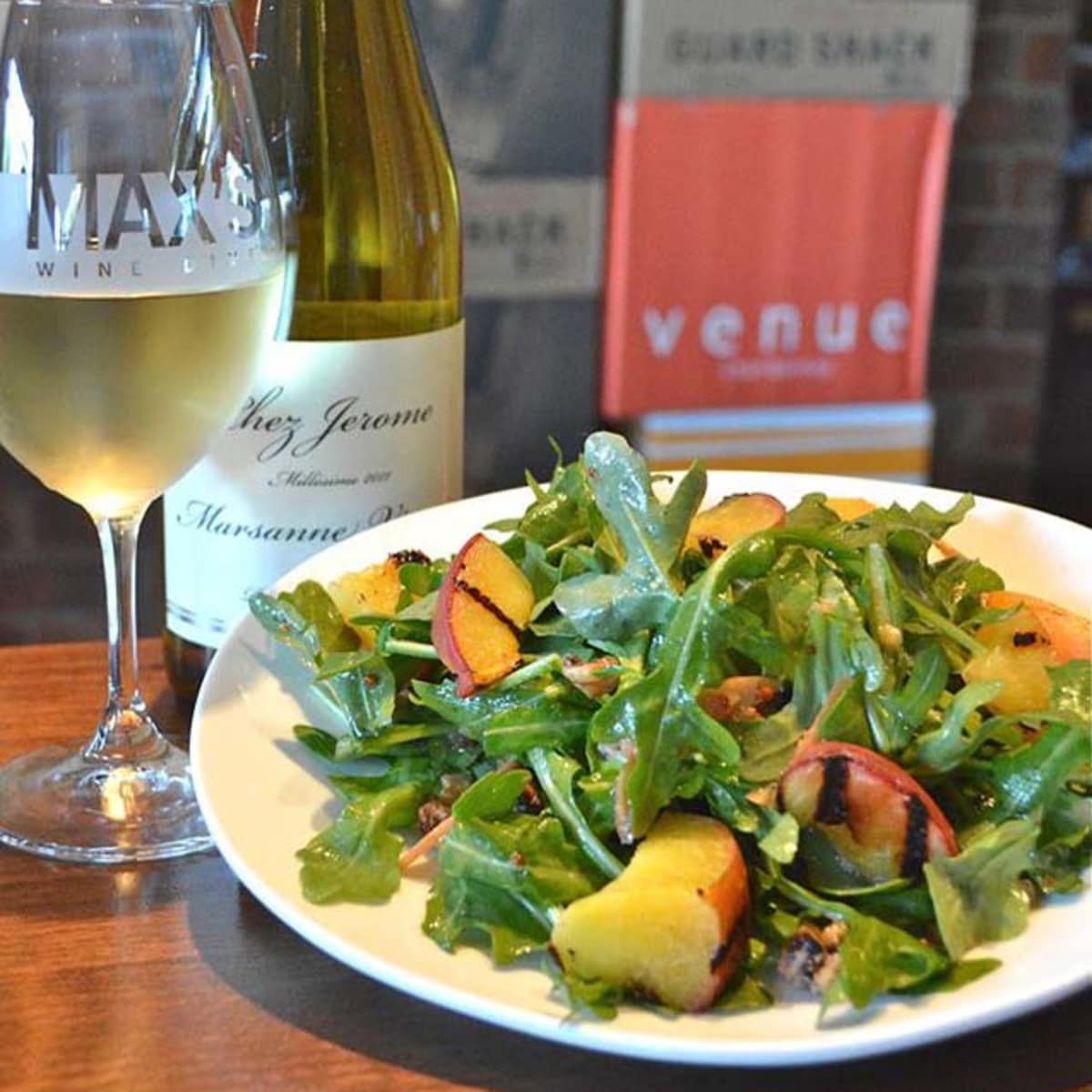 Max's Wine Dive peach and arugula salad