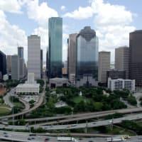 Houston downtown skyline day aerial