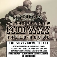 poster for Midway Field House super bowl watch party and soft opening