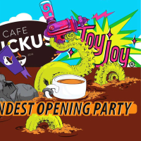 poster for the Grandest Opening at Toy Joy and Cafe Ruckus