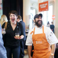 News, Taste of the Nation, Sept. 2015,  Victoria Dearmond, left, and chef Lyle Bento