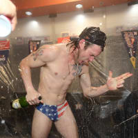 Astros Josh Reddick celebration after ALCS win over Yankees at