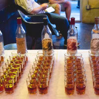 Eight Row Flint Pappy Van Winkle tasting bottles