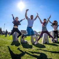 Houston Vegandale Festival people jumping