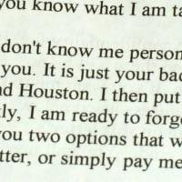 Houston scam letter alert David Audrey Gow