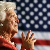 Barbara Bush American flag background