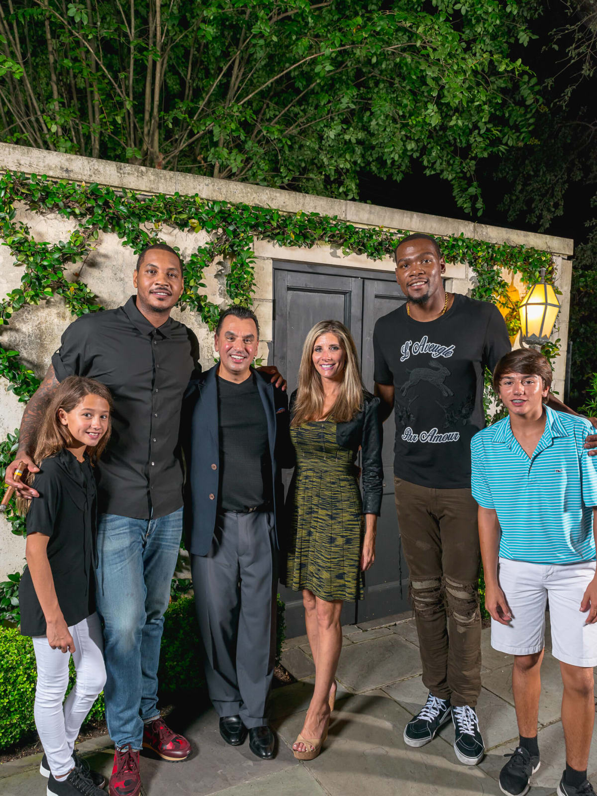 Olympic Basketball party 7/16, Mia Devinder, Carmelo Anthony, Devinder Bhatia, Gina Bhatia, Kevin Durant, Drake Bhatia,