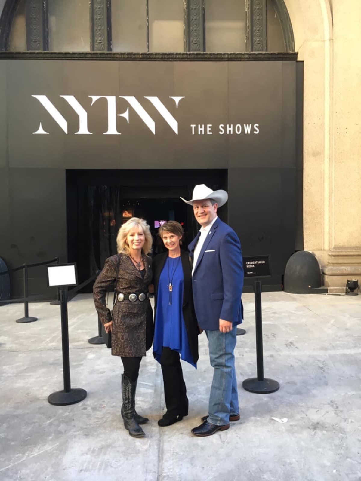 Pat Mann Phillips, Tammy Crowley, Joel Crowley at Vivienne Tam fashion show