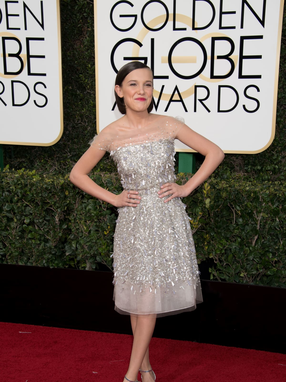 Millie Bobby Brown at Golden Globes 2017