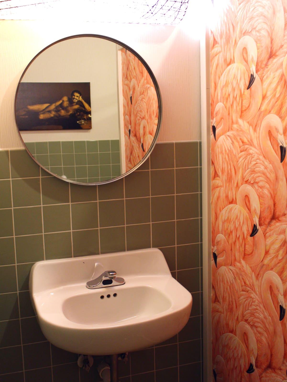 Kitty Cohen's Austin bar women bathroom flamingo