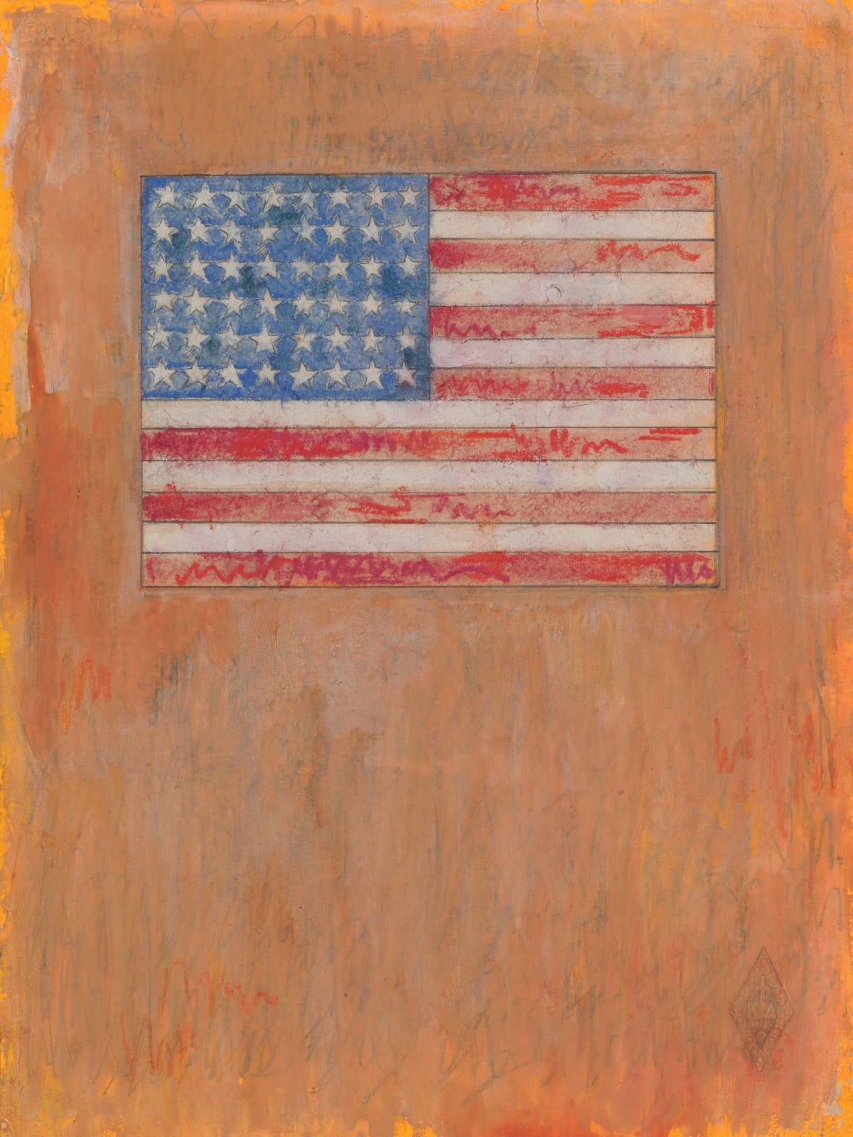 Jasper Johns, Flag on an Orange Field drawing