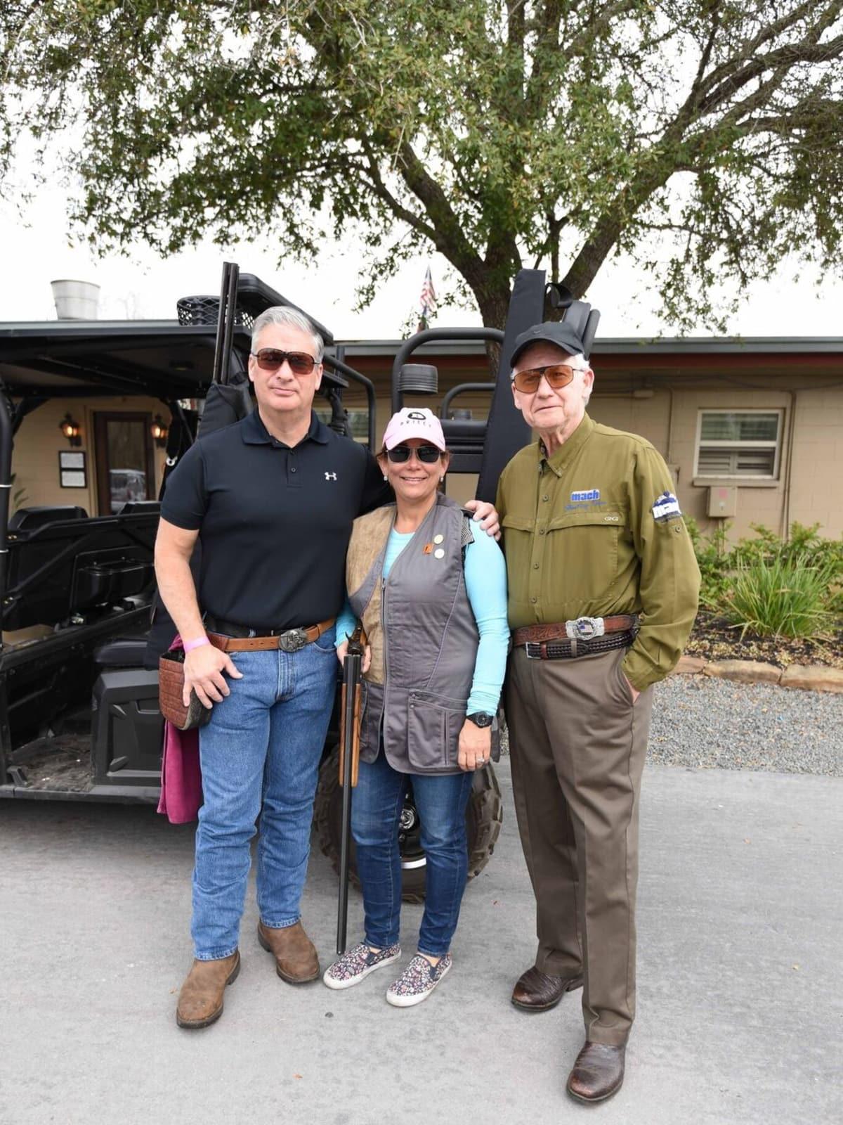 Butch Mach, Carmen Mach, Harry Mach at Memorial Hermann Clay shoot