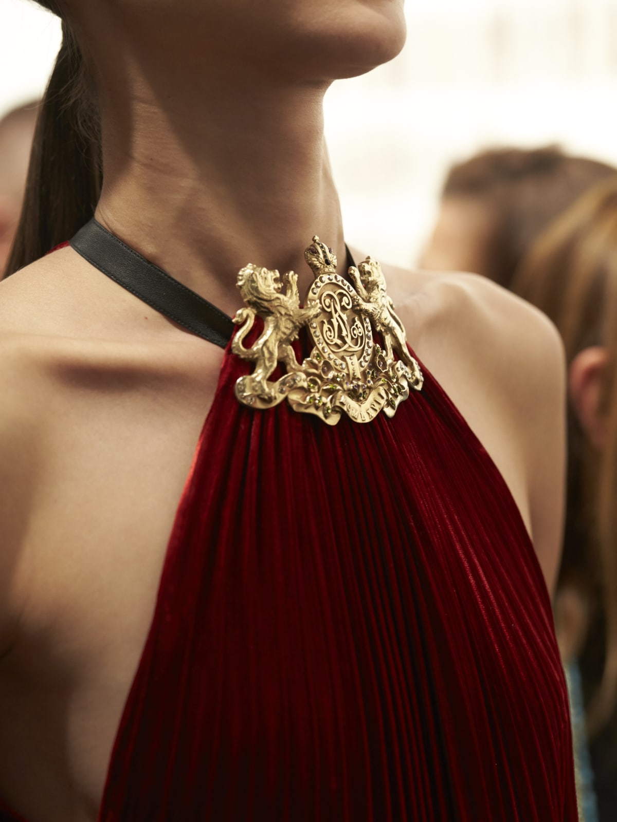 Ralph Lauren fall 2016 collection backstage detail of gown