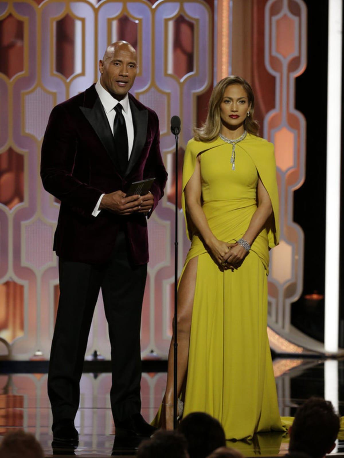 Dwayne Johnson and Jennifer Lopez at Golden Globes