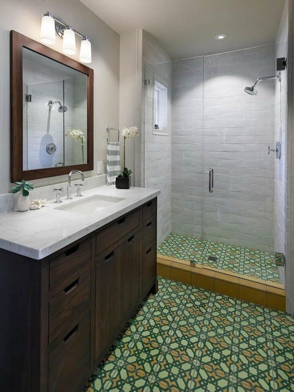 Encaustic tiles in bathroom