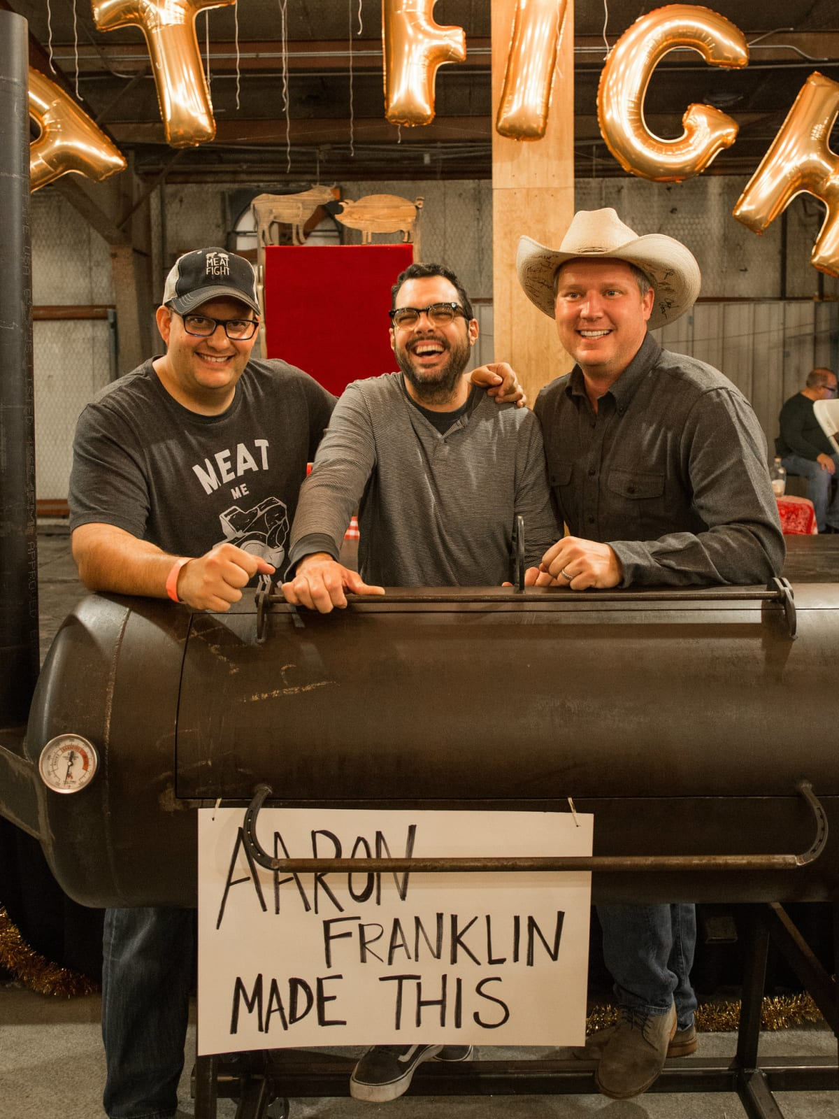 Daniel Vaughn, Aaron Franklin at Meat Fight 2015