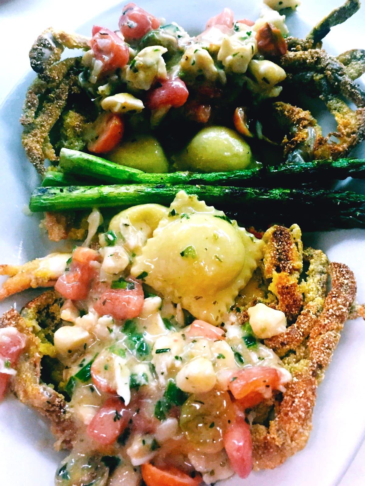 Houston, soft shell crab dishes, June 2017, Prego