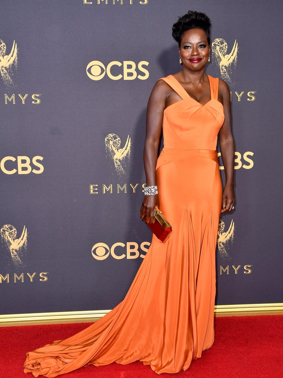 Viola Davis in Zac Posen at Emmy Awards 2017