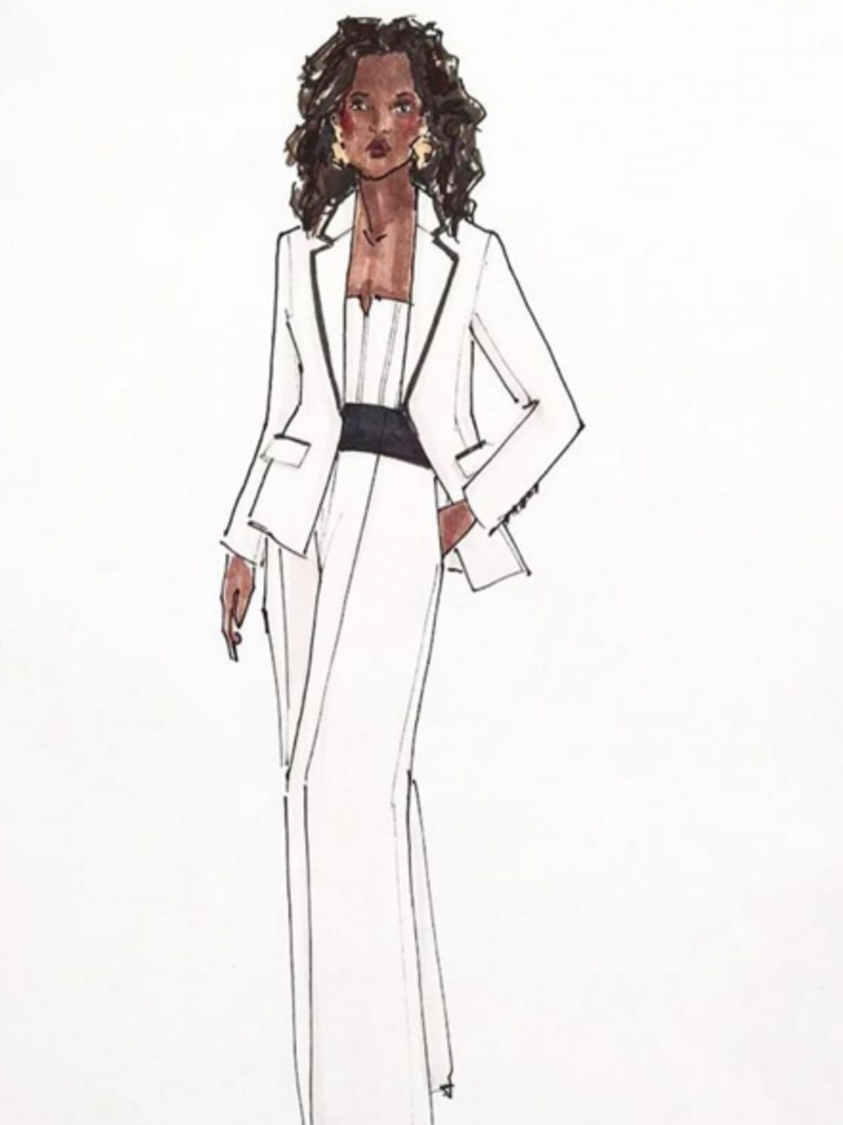 Sketch of Oprah Winfrey pantsuit designed by Elizabeth Kennedy