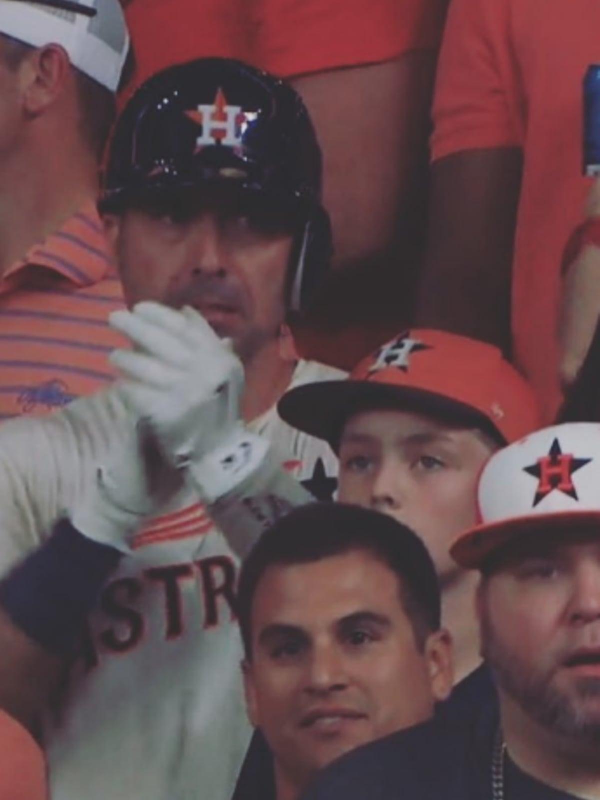 Moustapha El-Hakam in Houston Astros uniform at ALCS game