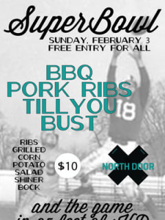 Austin photo: Events_Super Bowl Parties_The North Door_Jan 2013_flyer