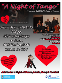"Houston Community College SW Cultural Voyages presents ""A Night of Tango"""