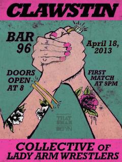 Flyer promoting CLAWstin lady arm wrestling at Bar 96