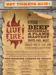 Flyer for Austin food and wine alliance Live Fire event at Salt Lick