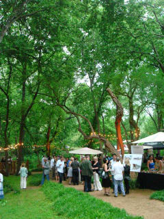 guests enjoy the Garden Party fundraiser at Umlauf sculpture garden and museum