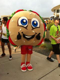 Schlotzsky's Bun Run mascot for 10K and 5K