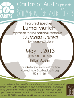 Flyer for Words of Hope speaker series by Caritas with Luma Mufleh