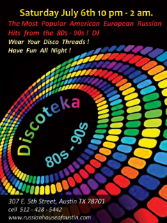 Flyer for Russian House Disco Night dance party