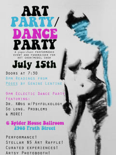Art Party/Dance Party poster for paper chairs