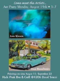 flyer for artist reception with Dani Brandimarte and Joan Klasson