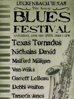 poster and lineup for the 2014 Luckenbach Blues Festival
