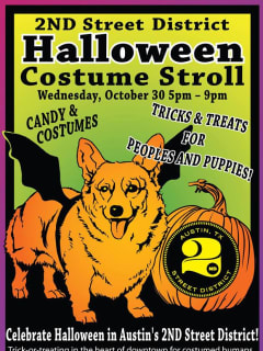poster for 2nd street district Halloween costume stroll